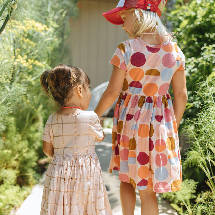 Pink Chicken Steph Dress 2y cloud pink w/ rose gold tattersall