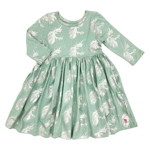 Pink Chicken Steph Dress 2y silver unicorn - 19ffpc220h
