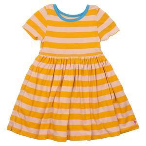 Pink Chicken Steph Dress 2y mineral rose / mineral yellow stripe