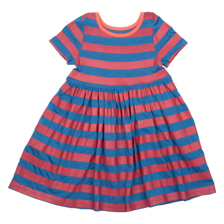 Pink Chicken Steph Dress 2y palace blue / chrysanthemum stripe