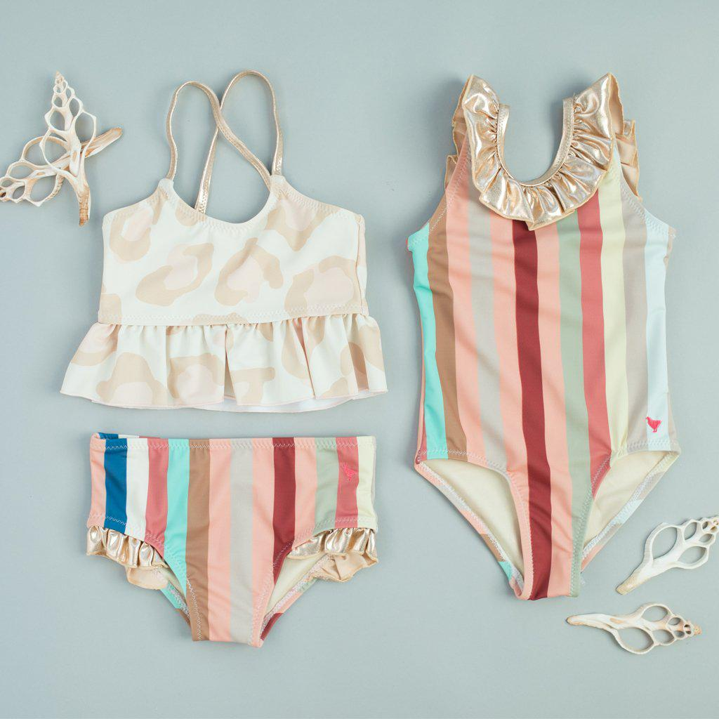 Pink Chicken bathing suits - Joy Tankini in antique white oversized leopard and Princess Diana Suit in multi vintage stripe