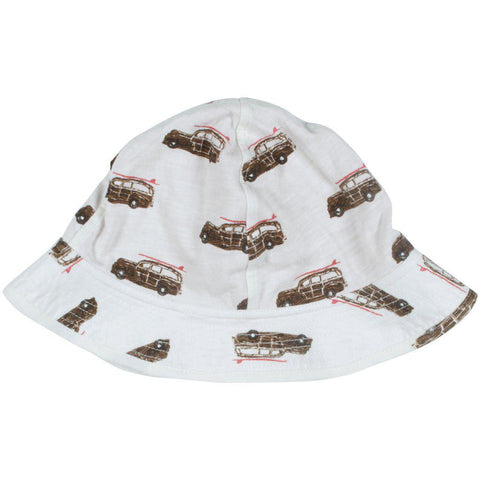 Pink Chicken Sun Hat 6/12m antique white car - 19sbrb200d
