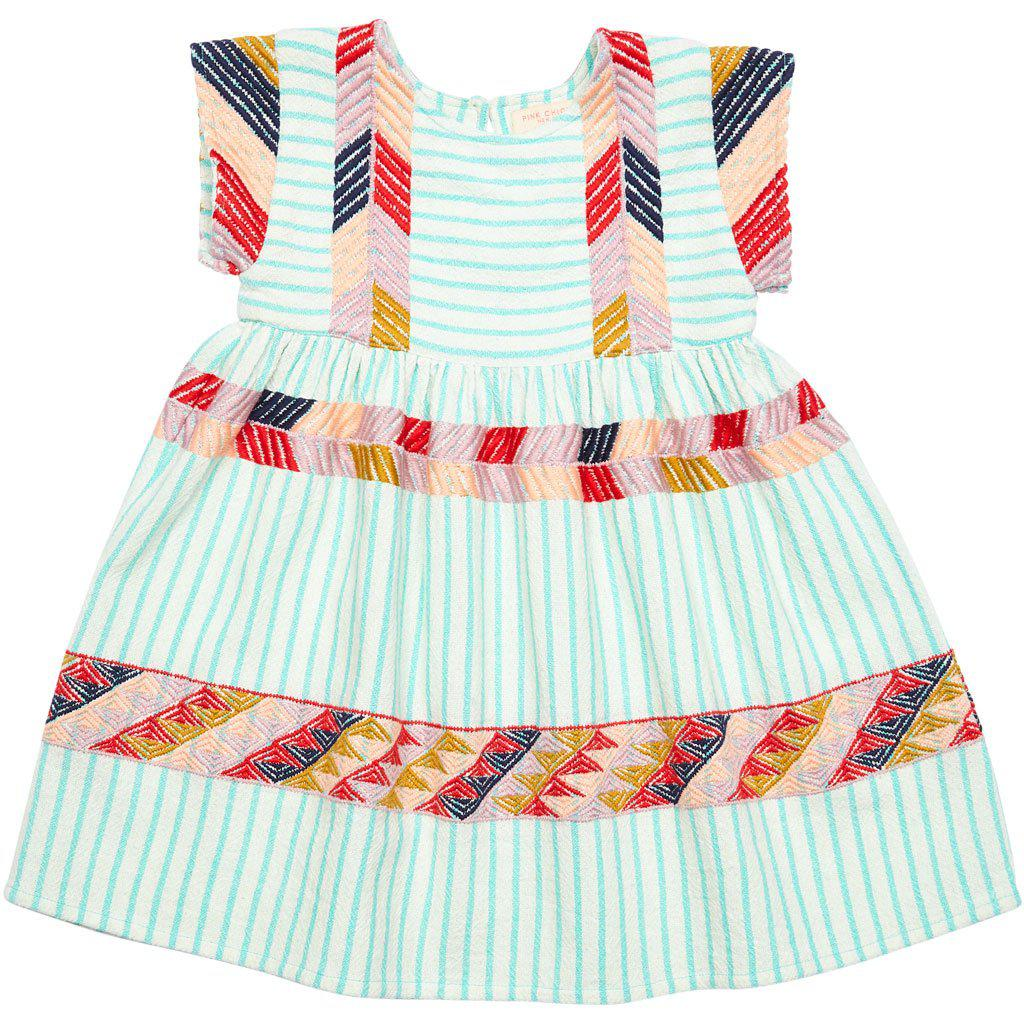 Suri dress with pool blue stripe with multi colored peru embroidery.