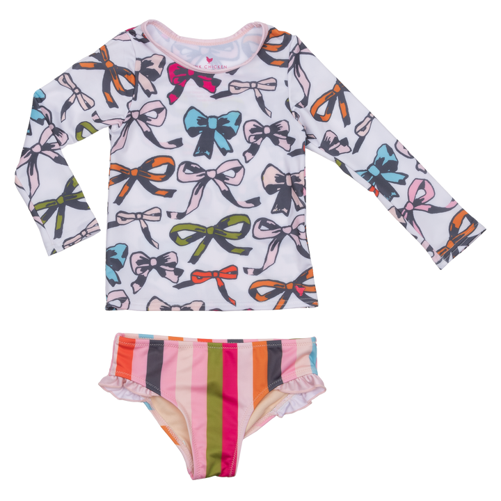 Pink Chicken Rash Guard Set 2y multi bows