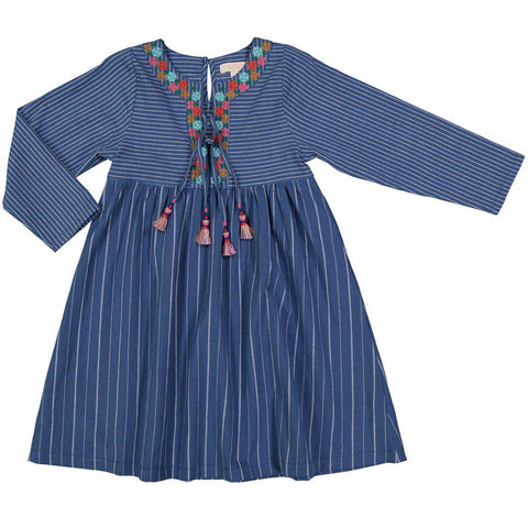 Chambray dress with embroidered floral around the neckline with contrast tassel detail