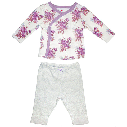 two piece baby clothes with lavender floral top and grey pants
