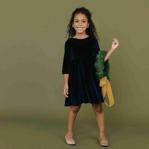 Pink Chicken Princess Diana Dress 2y navy velour - 18ffpc263c