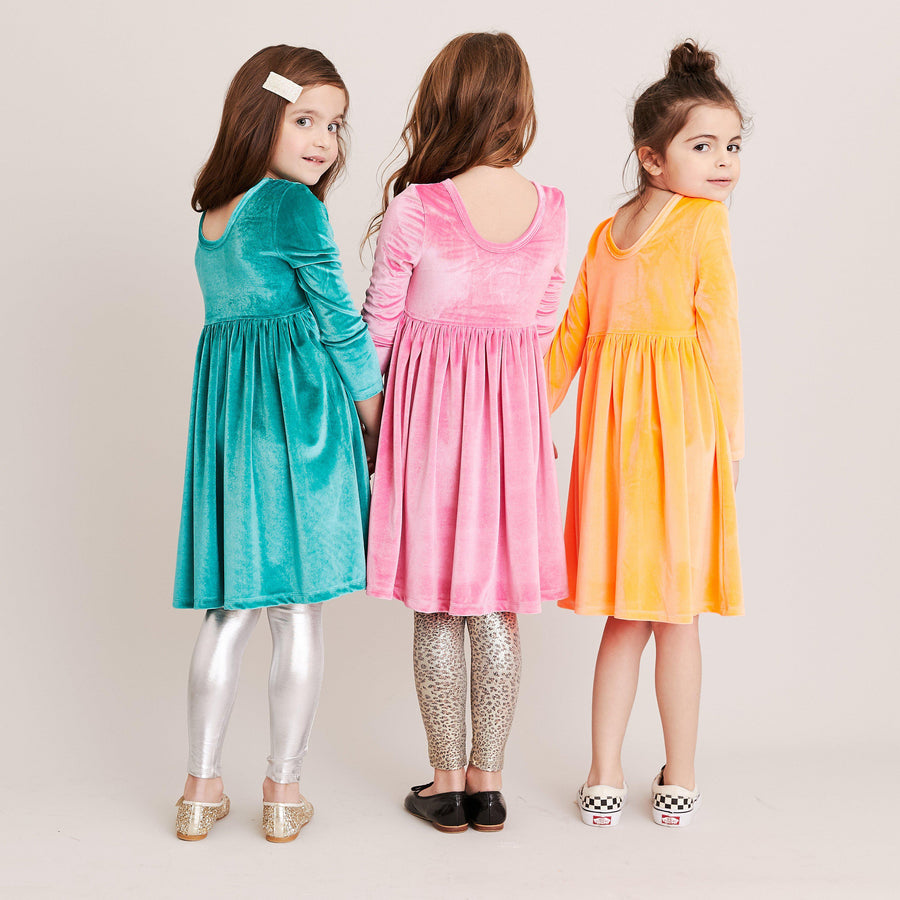 Pink Chicken Steph Dress 2Y turquoise velour