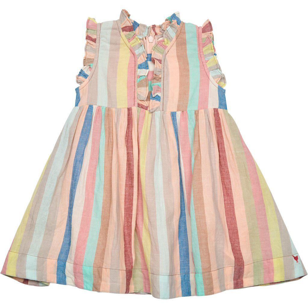 Pink Chicken Baby Vera Dress 3/6m multi vintage stripe - 19spcb534