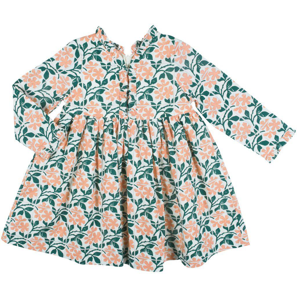 Pink Chicken Vera Dress 2y antique white floral tile - 19fpc311a