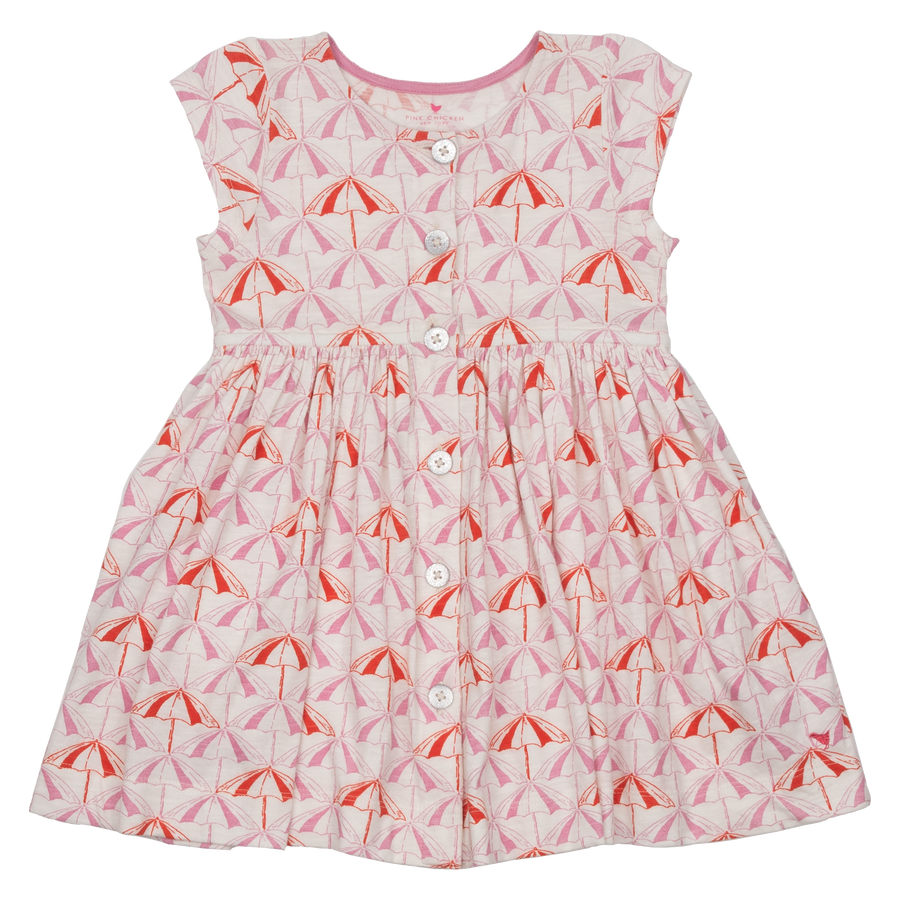 Pink Chicken Winnie Dress 2y sea pink umbrellas