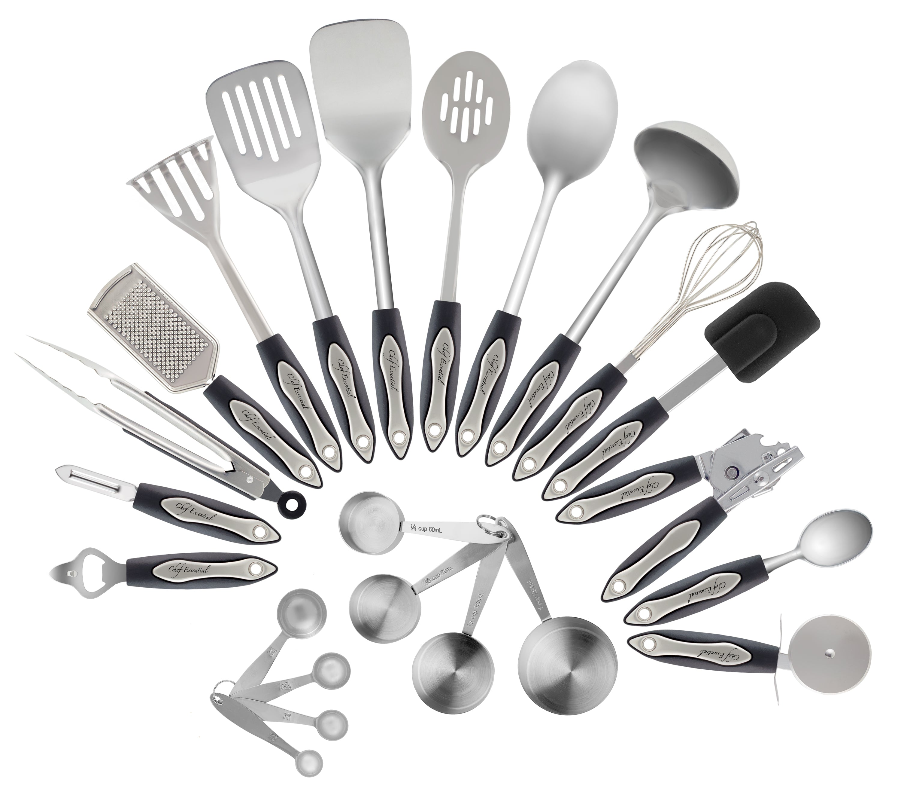 23-Pc Kitchen Utensil Set, Premium Quality 304-Grade Stainless Steel ...