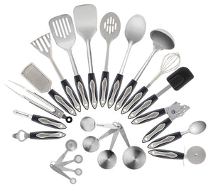 Chef Essential 23-Pc Stainless Steel Kitchen Utensil Set, Nonstick Kitchen Tools Cookware Set with Spatula, Stainless Measuring Spoons included, Best Kitchen Gadgets Gift Set