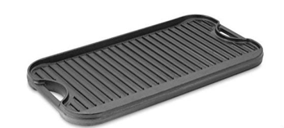 Cast-Iron Reversible Griddle / Grill, 20.2 x 10.4 inches