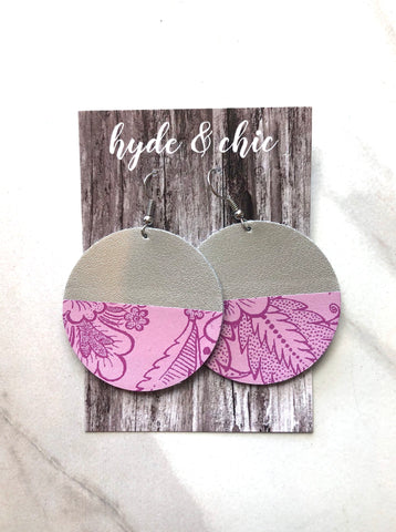 Hyde & Chic Round Color Block Leather Earrings - Orchid