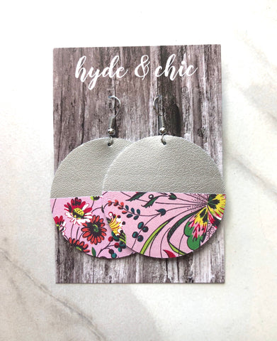 Hyde & Chic Round Color Block Leather Earrings - Spring Garden