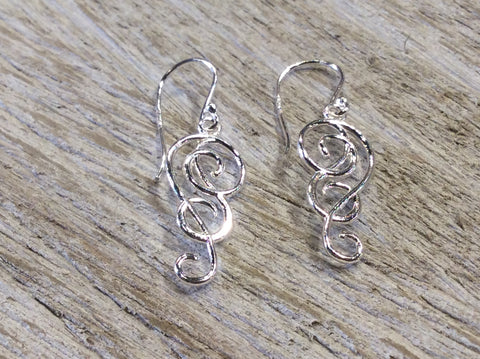 Tomas Open Swirl Long Sterling Silver Earrings