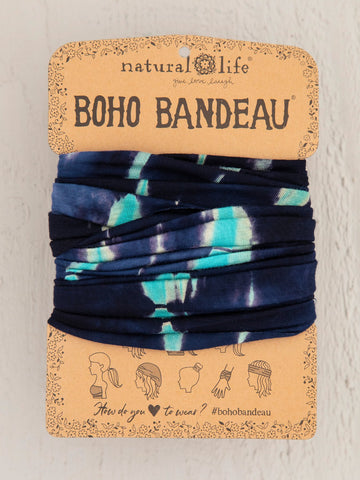 Natural Life Boho Bandeau - Turquoise Navy Tie-Dye
