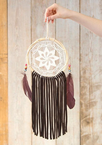 Natural Life Medium Leather & Crochet Dream Catcher