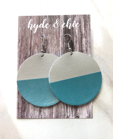 Hyde & Chic Round Color Block Leather Earrings - Teal