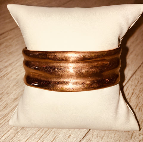 Torch & Hammer Double Fenced Raised Copper Cuff
