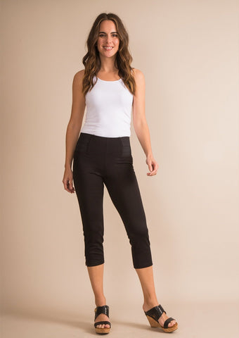 Simply Noelle Ponte Straight Button Cropped Pant