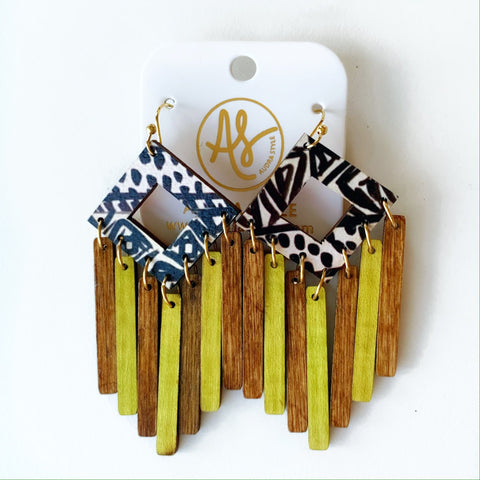 Ethel Black Graphic Wood Chartreuse Earrings