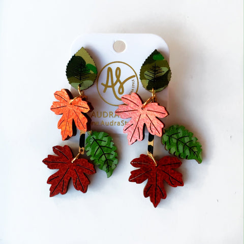 4 Leaves Autumn Earrings