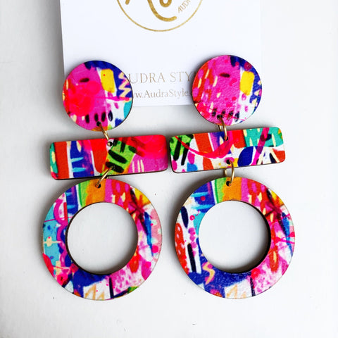 Olive Neon Multi Abstract Earrings