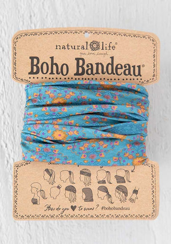 Natural Life Boho Bandeau - Blue Flower Stamp