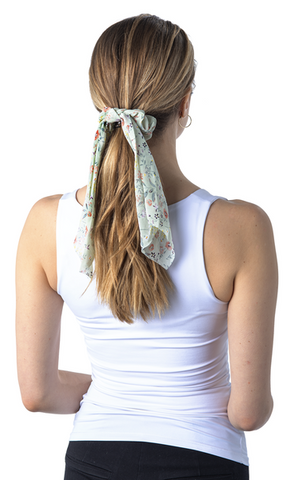 Camillions Scrunchie Long Scarf Hair Tie - Rose Floral