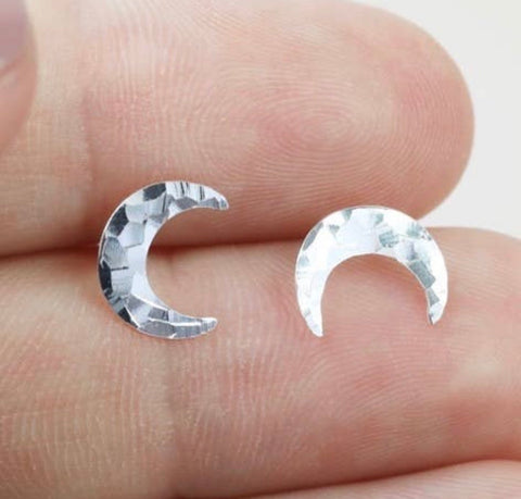 Camillions Crescent Moon Hammered Stud Earrings - Silver