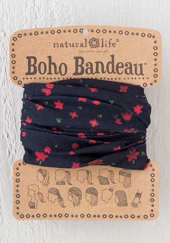 Natural Life Boho Bandeau - Black Red Floral