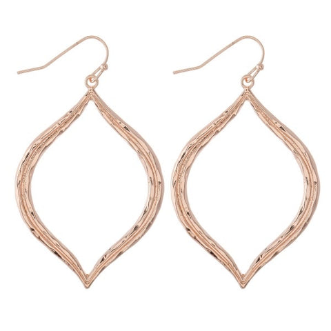 Camillions Hammered Lotus Petal Earrings - Rose Gold