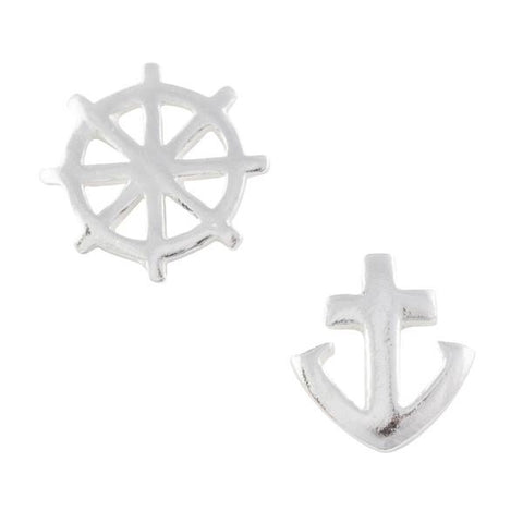 Tomas Anchor/Wheel Sterling Silver Stud Earrings