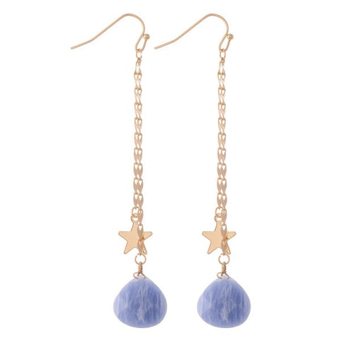 Camillions Gemstone Stars Double Gold Chain Drop Earrings