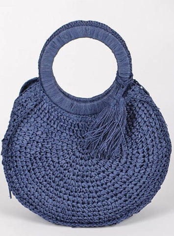 Camillions Woven Round Straw Bag with Tassel
