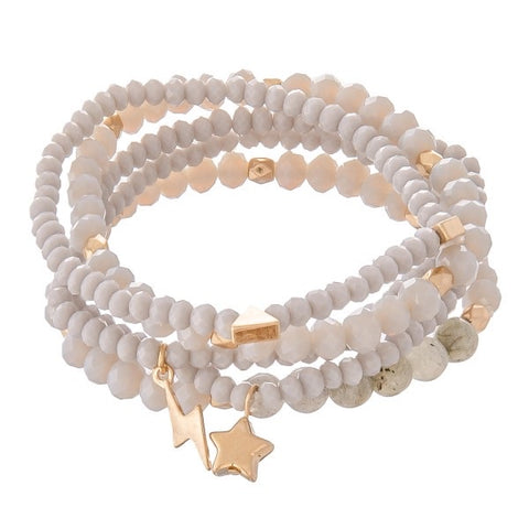 Camillions Grey Beaded Star Lightning Bracelet Set of 4