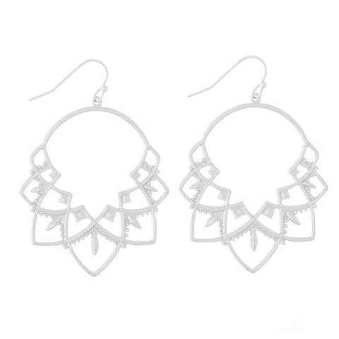 Camillions Metal Boho Cutout Hoop Earrings - Silver