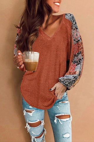 Camillions Orange Patchwork Waffle Knit Top