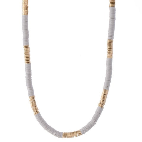 Camillions Rubber Clay Gold Spacer Disc Necklace