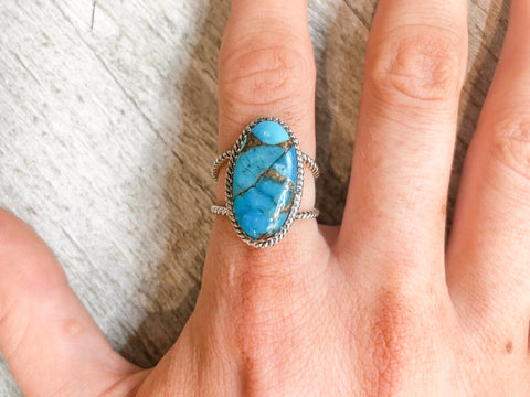 Camillions Matrix Oval Turquoise Sterling Silver Ring