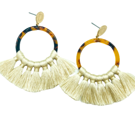 Camillions Ivory Tassel Tortoise Earrings