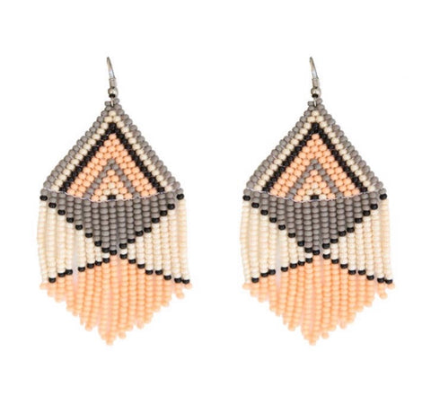 Camillions Embera Beaded Earrings - Peach