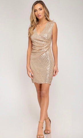 Camillions Stevie Wrap Sequin Dress - Rose Gold