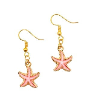 Camillions Starfish Enamel Earrings - Gold
