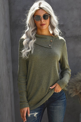 Camillions Army Green Button Neck Long Sleeve Sweater