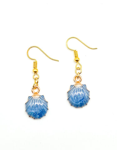 Camillions Seashell Enamel Earrings - Gold