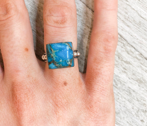 Camillions Matrix Square Turquoise Sterling Silver Ring