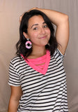 Camillions Pink Trim Striped T-Shirt Top